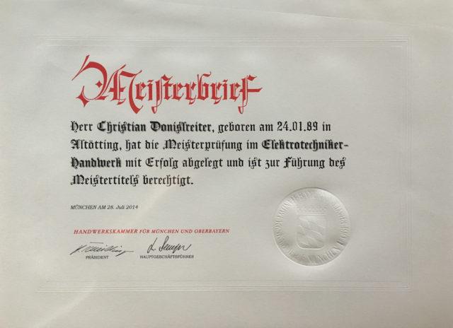 Meisterbrief Donislreiter