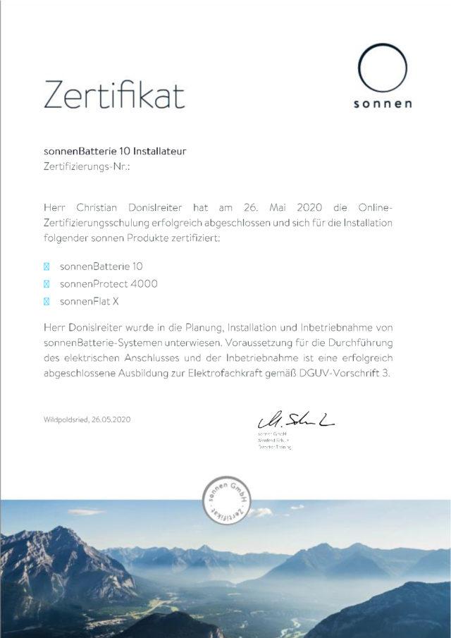 Sonnen Zertifikat 2020